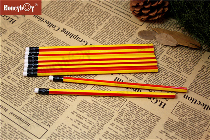 Most Popular Yellow And Red Stripe Paint Pencil with Eraser